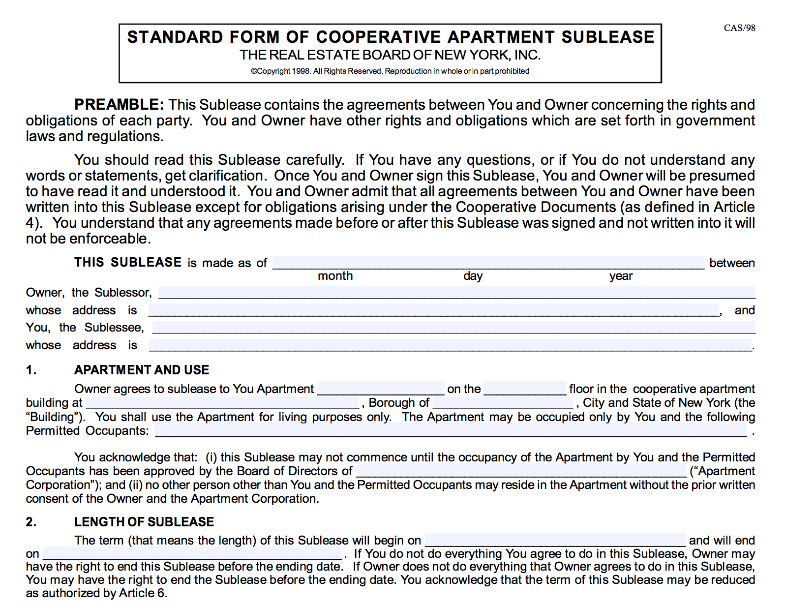 Subletting and Possible Cooperative Rule Violations — New York Real